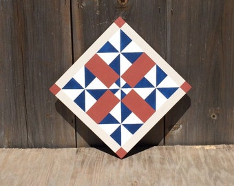 Hand painted rustic barn quilt. 2'x2', 5-pinwheel quilt block. Americana. Indoor/outdoor, weather/UV resistant