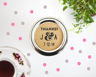 Custom Monogram Mason Jar Labels. Rustic Wedding Labels Seals. Round Stickers. Canning Labels. Jam Labels. Wedding Favors Seals Labels