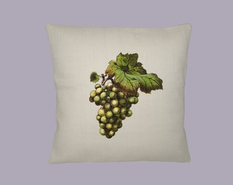 Gorgeous Vintage Green Grapes Illustration HANDMADE 16x16 Pillow Cover - Choice of Fabric