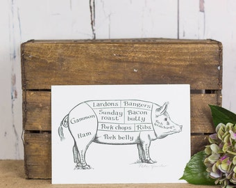 Pig Kitchen Art - Funny Pig Print - Food Art - Kitchen Wall Art - Gift For Foodie - Food Art Print - Pork Art Print - Pork Kitchen Art