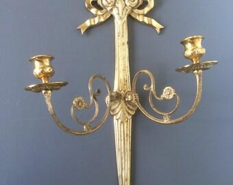 vintage brass candle wall sconce 2 armed hollywood regency tassel detailing large