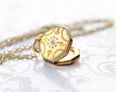 Tiny Gold Filled Locket Necklace, mini octagon locket, little vintage locket, small gold-filled locket, unique little locket