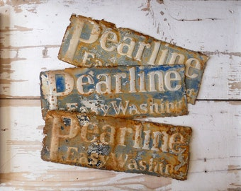 Antique Pearline Soap Rusty Tin Advertising Panels / Set Of 3