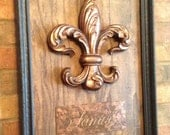 """Fleur de lis And """"Family"""" placed on oak wood and Framed"""