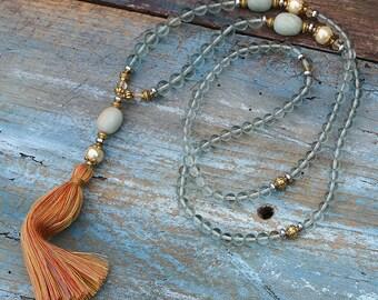 Beautiful glass bead mala necklace