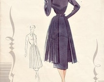 Vintage 50s French Shirtwaist Dress Sewing Pattern Size 12 - 14 Slim Skirt with Pleated Skirt Apron Le Patron de Paris 724 Factory Folds