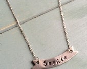 Custom Made - Name Banner Necklace - Rhodium Plated Chain
