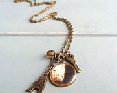 Antiqued Brass Paris Charm Necklace - Eiffel Tower - Key - Custom Chain Length