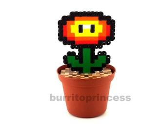 Fire Flower Plant - Super Mario Decoration - Video Game Decoration - Super Mario Planter - Super Mario Plant - Super Mario Wedding