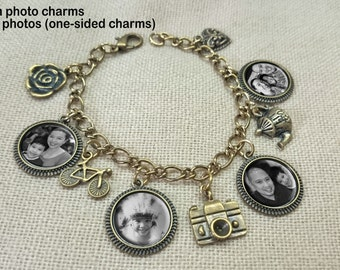 Personalized Photo Charm Bracelet-16mm, Personalized picture bracelet, custom photo bracelet