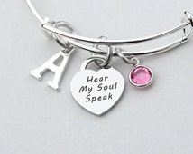 Hear My Soul Speak Charm Bangle, Shakespeare Love Quote,  Personalize, Birthstone, Initial, Monogram, Gift For He