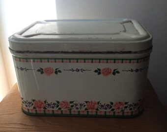 Vintage Metal Bread Box with Flowers