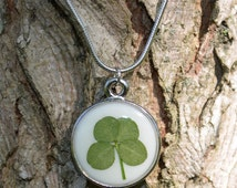 Real Four Leaf Clover Lucky Leaf Pendant Necklace Pressed Flower Botanical Jewelry Silver finish Bezel 18 inch Chain