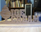 Ice Cream Tabletop Wood Sign