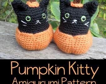 Crochet Pattern: Pumpkin Kitty Amigrumi PDF Instant Download