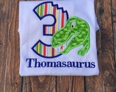 Dinosaur Birthday Shirt, Jurassic Birthday Shirt, Prehistoric Birthday Shirt, Personalized Embroidered Applique Dino Birthday Shirt