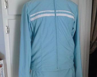 Vintage Nike Size S 4-6 Petite Light Blue 2 Piece Warm Up Suit