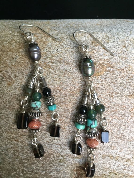 Handmade Sterling Silver Jewelry, pearls, turquoise, smokey quartz, Bali Beads, Earrings, sunstone,