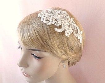 Bridal headpiece, Alencon type lace rhinestone headpiece, bridal pearls hair accessory, wedding head piece Style 281