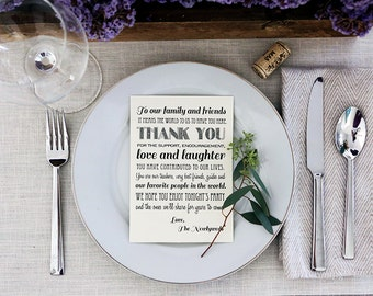 Instant Download - Thank You Friends & Family Reception Sign - Black and White Thank You Printable Wedding Sign - Thanks wedding print