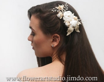 Bridal Hair Flower, Bridal Hair Accessories, Creme and White Wedding Fascinator, Bridal Hair Piece, Bridal Hair Clip, Bridal Headpiece.