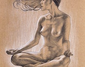 ORIGINAL DRAWING Pencil Figure Sketch of a Beautiful Meditating Nude Woman Fine Art Pretty Girl Gift for Her Portrait 9x12 Inches