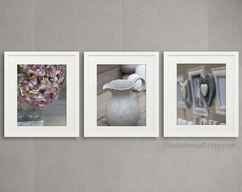 Bathroom Art Set Of 3 Photographs Bathroom Set Soft Grey Pink Large Wall