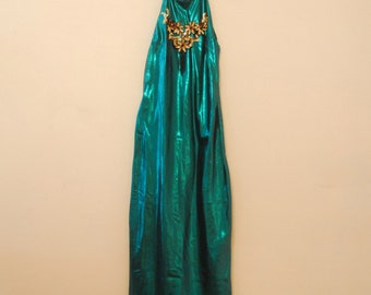 Teal Lamé Maxi Dress with Appliqué - 1980s