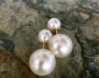 spectacular south sea double pearl earrings, genuine south sea pearl tribal earrings on solid 18k gold