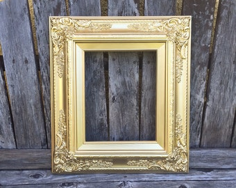 Gold Baroque 8x10 Picture Frame, Metallic GOLD, Vintage Chic,Glass and Backings ,Wedding Frame,wood frame,Photo Prop #SC (Los Angeles)