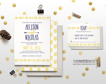 Directional Arrow Yellow & Navy Wedding Invitation Set - Invitation RSVP Save the Date Table Numbers
