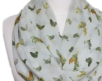 Rooster & Chicken Print Infinity scarf, Circle scarf, Loop scarf, Scarves, Shawls, spring - fall - winter - summer fashion