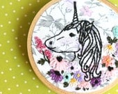 """Unicorn Embroidery Hoop Art - Small 3"""" Hoop, Hand-Embroidered, Unicorn Art, Embroidery Hoop Wall Art, Unicorn and Wildflower Embroidery"""