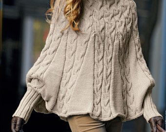 Hand knitted ladies poncho with sleeves and turtleneck turtle neck made to order in wool & acrylic mix