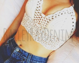 Crochet Crop Top, Boho Hippie White Crochet Top, Halter Top