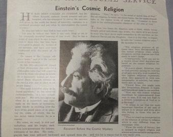 Albert Einstein 1930 Cosmic Religion article from Literary Digest
