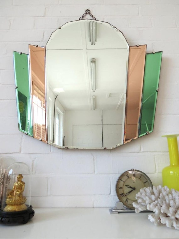 Vintage Art Deco Bevelled Edge Wall Mirror With Colored Glass