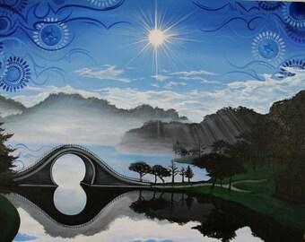 "Water Under the Bridge, 30""x40 original acrylic painting"