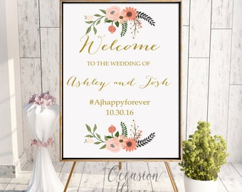 Printable Fall Wedding Welcome Poster, Wedding Welcome Sign, Autumn Welcome Sign, Welcome Wedding Poster, Floral wedding sign, WS054