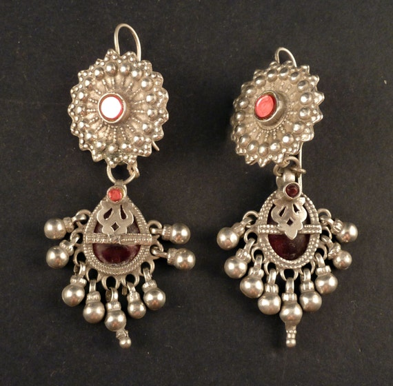 Silver old earrings from india bunda indian for Silver jewelry repair indianapolis
