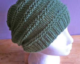 Hand Knitted Slouchy Beanie / Hat Green - Light Weight / Beanie / Textured Beanie / Ski Hat