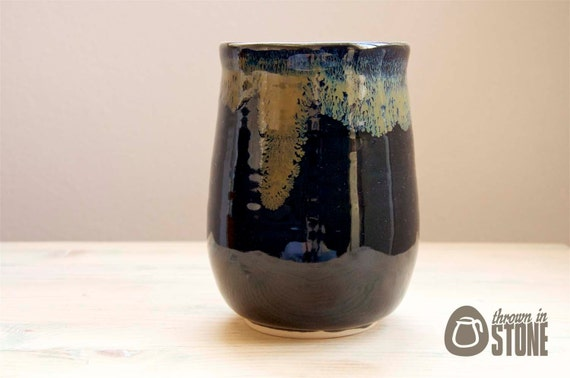 Vase - Black and Bronze Stoneware Flower Vase - Handmade Home Decor