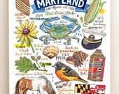 Maryland Print, State Symbols, Illustration, Old Line State, Home Decor.