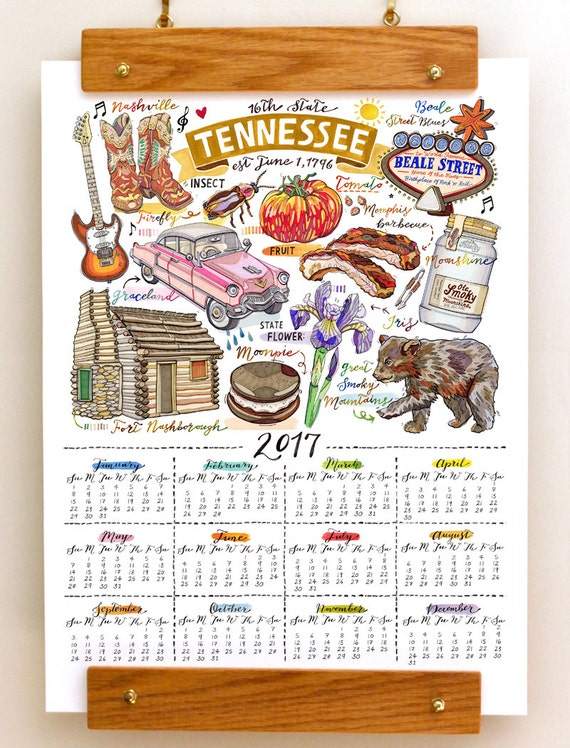 Tennessee Wall Calendar 2017 Home Decor State Art By Loupaper