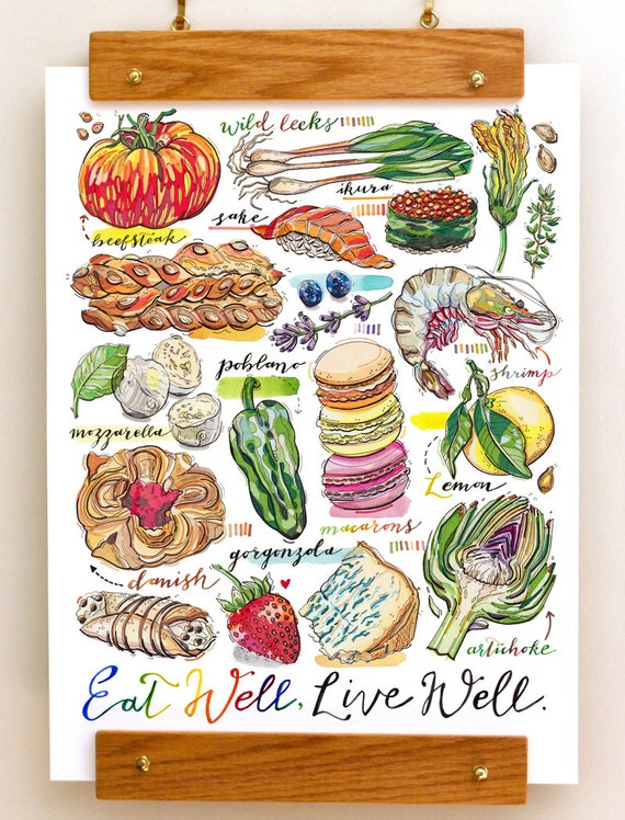 Eat well food print kitchen decor foodie for Well decorated kitchen