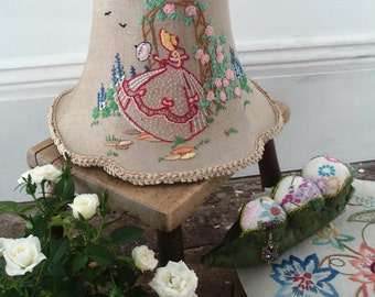Handmade crinoline lady lampshade - vintage embroidery & trims.