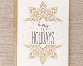 Happy Holidays Star Letterpress + Gold Foil Holiday Card