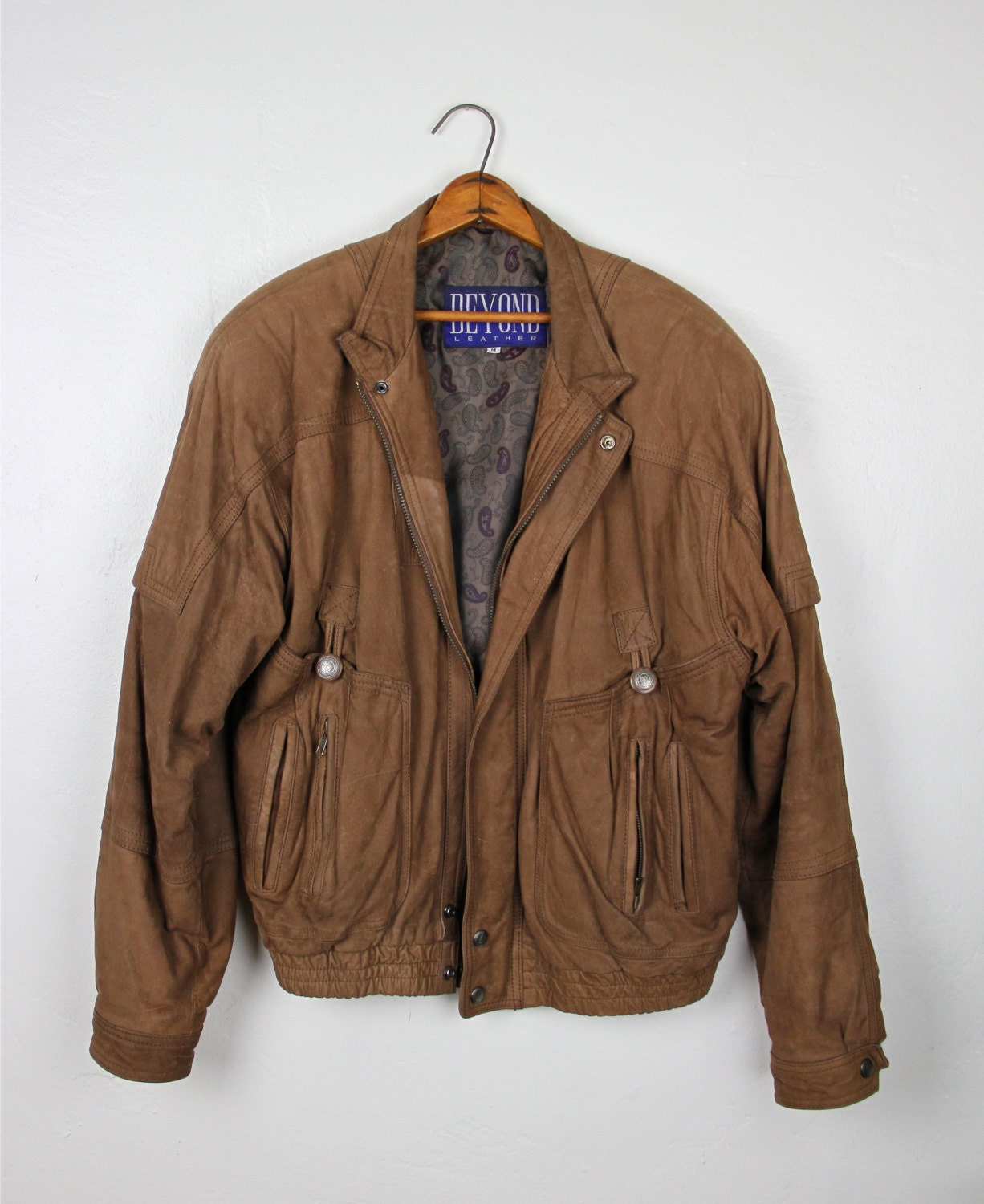 Vintage Mens Brown Leather Jacket Beyond Leather Motorcycle