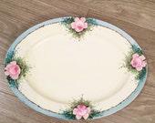 Oval Platter Roses, Vintage Bavaria Platter, Hand Painted Roses, Art Deco Platter, Pink Roses Decor