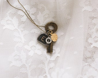 Vintage Typewriter Key Necklace with Swarovski Charm, Gold Compass, & Trunk Key (one letter)